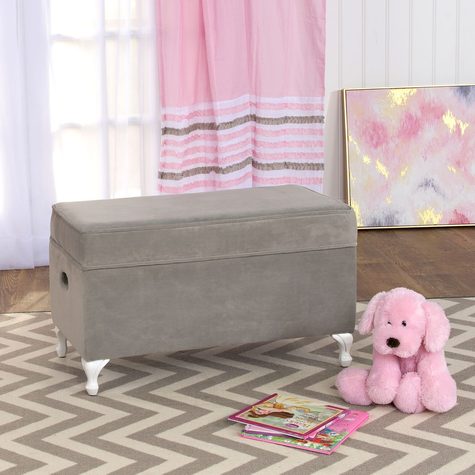 HomePop Diva Youth Velvet Decorative Storage Bench with White Wood Legs, Grey by HomePop (Image #3)