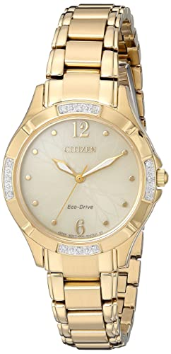 Citizen Women s Eco-Drive Diamond Quartz and Stainless-Steel Dress Watch, Color Gold-Toned Model EM0452-58P