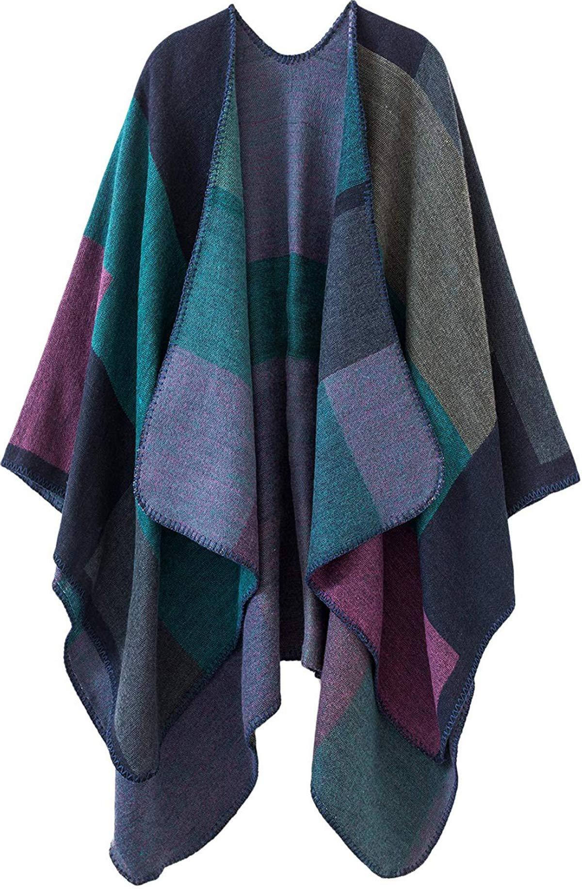 Women Plaid Shawls and Wraps,Winter Poncho Cape,Soft Cashmere Cloak,Oversized Long Cardigan Sweaters(Purple)