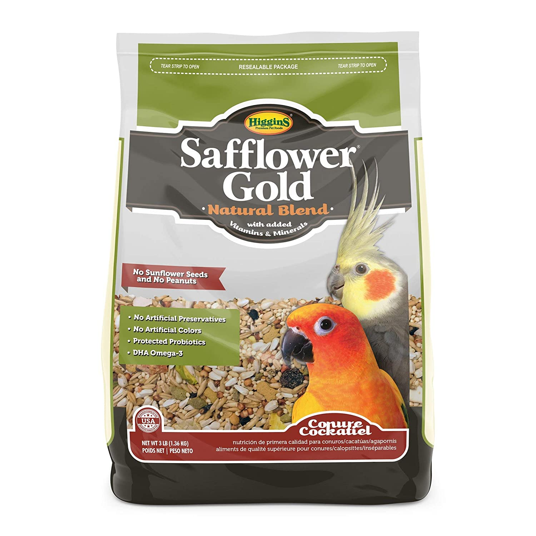 Higgins Safflower gold Natural Food Mix for Conures & Cockatiels 3lbs