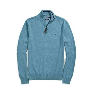 Tommy Hilfiger Men's Half-Zip Sweater, Large, Light Blue at Amazon ...