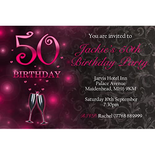 50th Womens Party Invitations Envelopes Curly Heart Invites Personalised