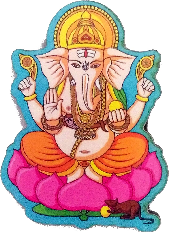 Purpledip Wooden Fridge Magnet: Hindu God Ganesha on Lotus (11961)