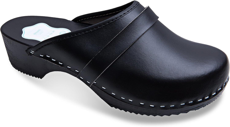 Futuro Fashion® - Zuecos de Cuero auténtico con Suela de Madera - para Mujer - Colores Lisos Unisex - Blanco/Negro - Tallas 36-46