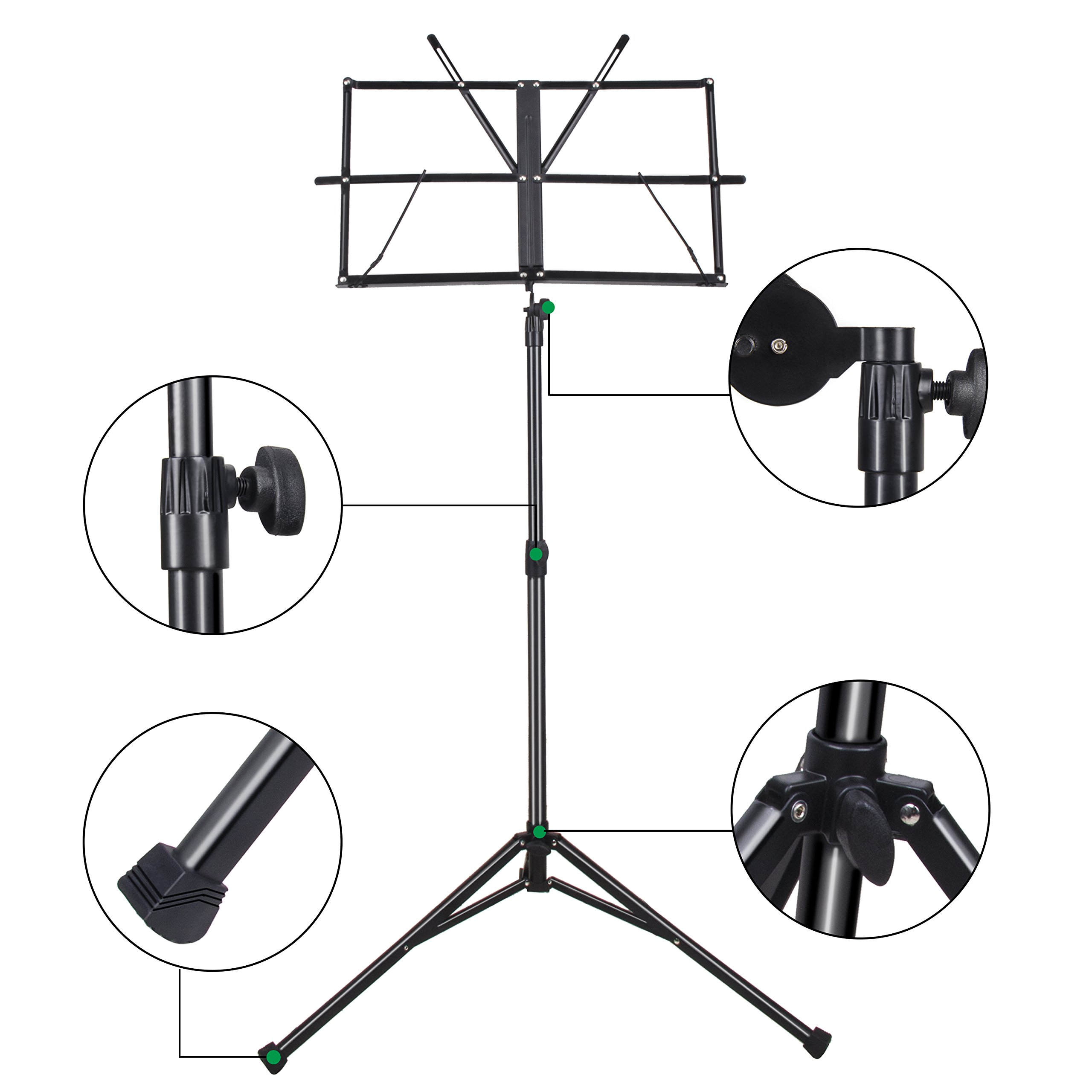 Mugig Music Stand Sheet Folding Music Holder for Instrument Books with Carry Bag (Black)