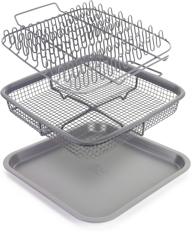 EaZy MealZ - Bacon Rack & Crisper Basket Set - Healthier Cooking - Air Fry - Non-Stick - 9x9 (Gray)