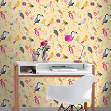 Rasch Vögel Tapete- gelbe 293029: Amazon.de: Küche & Haushalt
