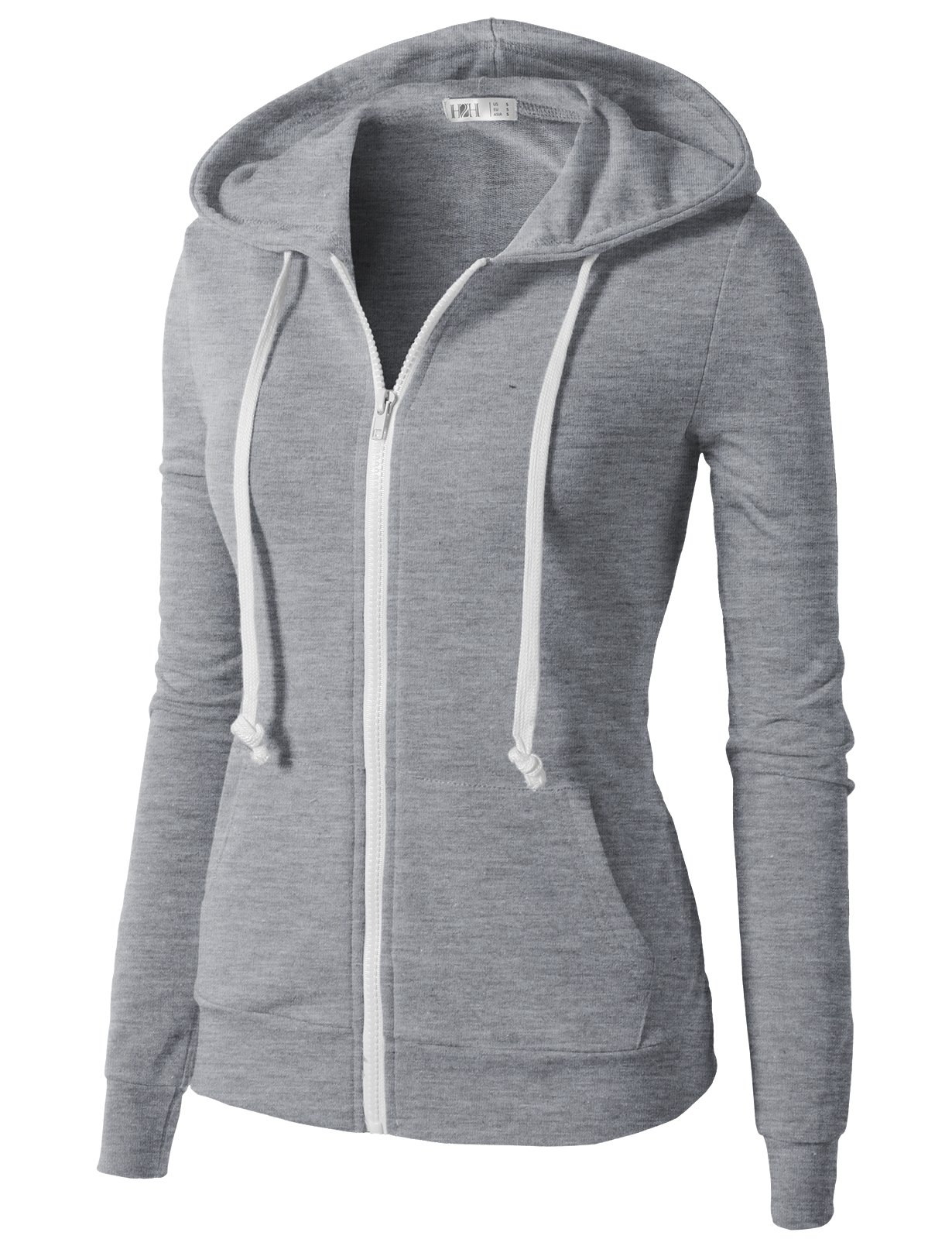 H2H Womens Soft Regular Fit Zip up Long Sleeve Fine Cotton Hoodie Jacket Gray US XS/Asia XS (CWOHOL020) by H2H (Image #2)