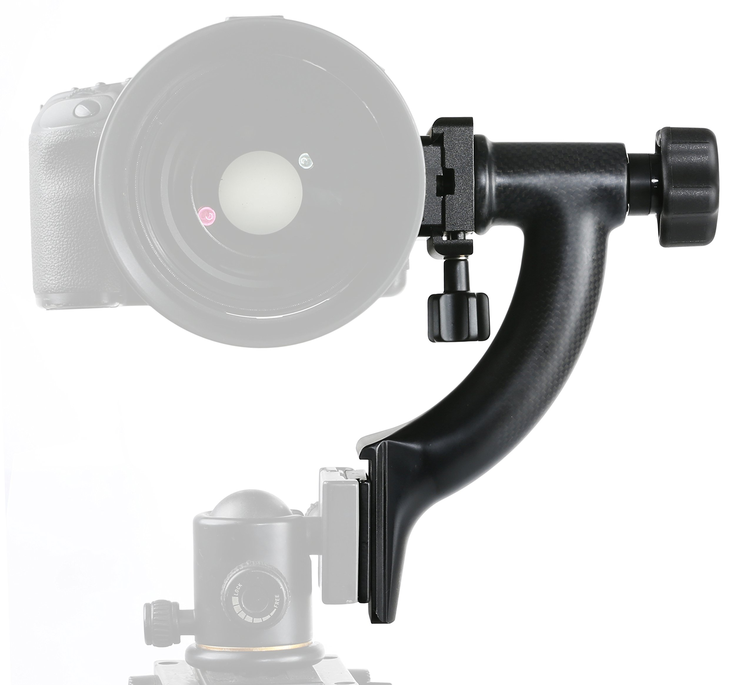 Movo GH400 Carbon Fiber Hybrid Gimbal Tripod Head with Arca-Swiss Quick-Release Plate (for Ball Heads) by Movo