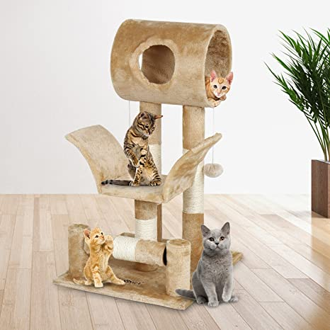 Leopet gato arañar poste centro de actividades con túnel, rodillo y bolas de Play de gato Sisal Rascador de muebles de juguete árbol de escalada ...