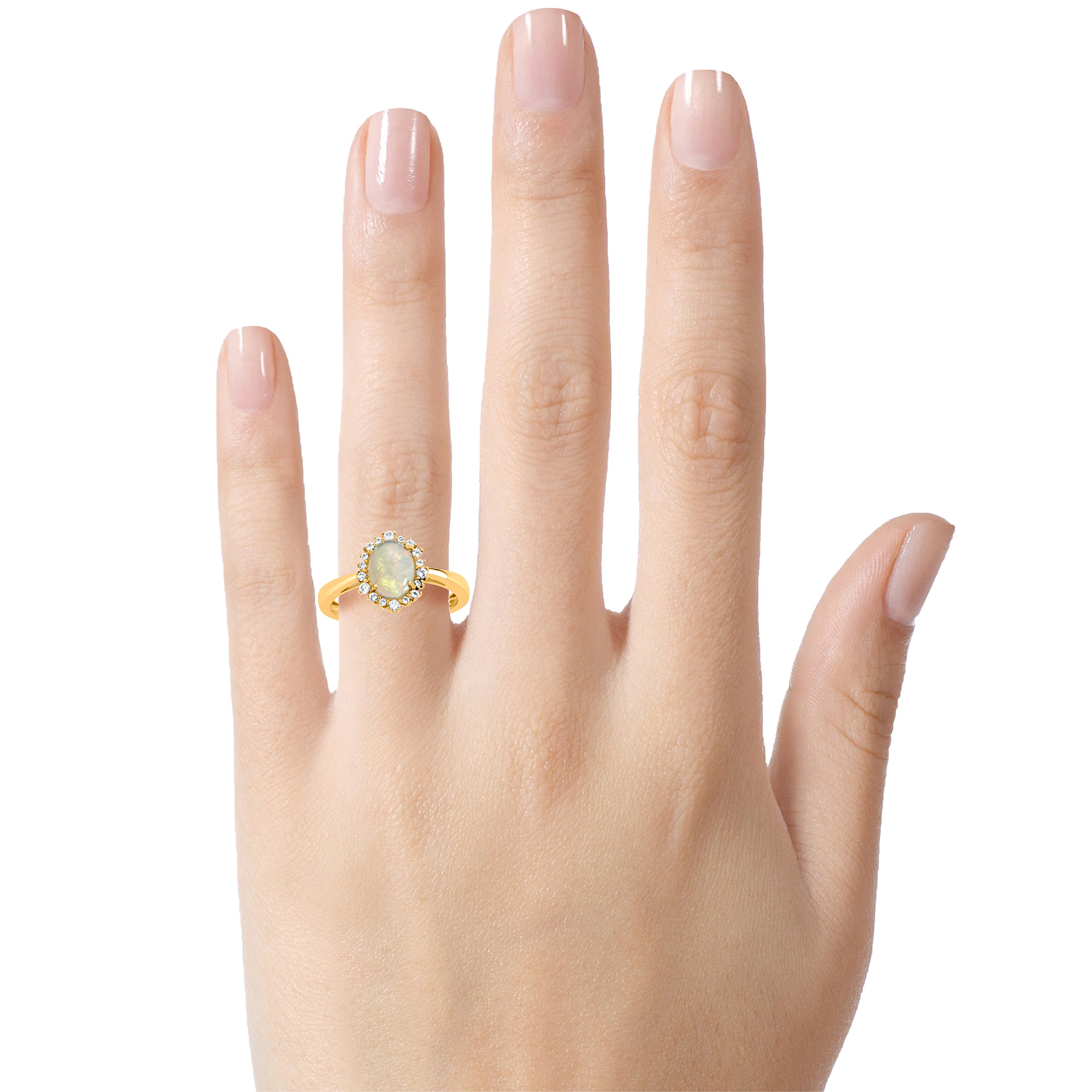 Finejewelers 10k Yellow Gold 8x6mm Oval Opal with White Topaz accent stones Halo Ring Size 5.5 by Finejewelers (Image #1)