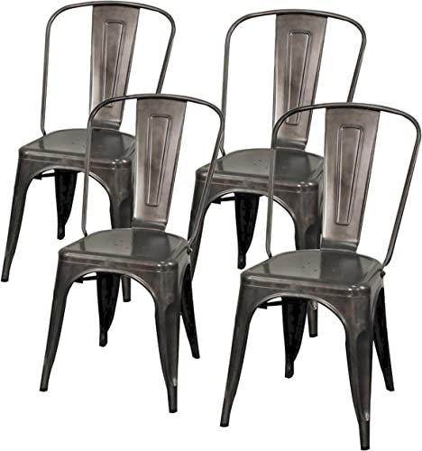 New Pacific Direct Metropolis Metal Side Chair,Gunmetal Gray,Set of 4