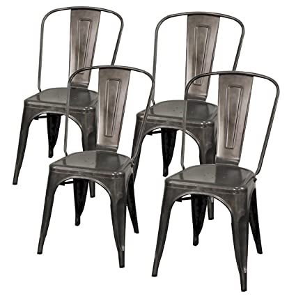 Charmant New Pacific Direct Metropolis Metal Side Chair,Gunmetal Gray,Set Of 4