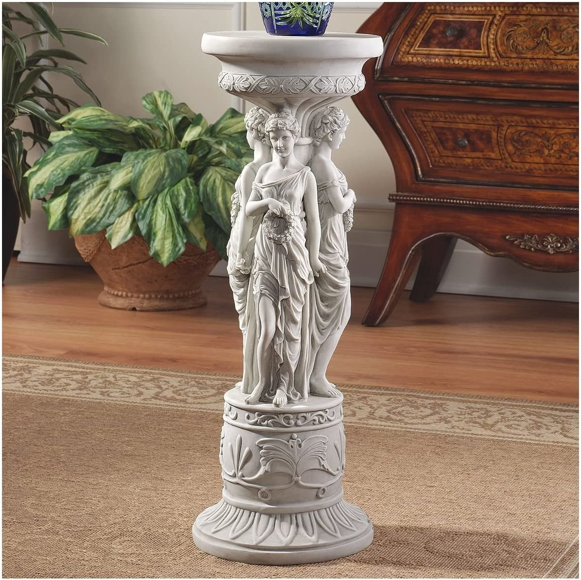 Amazon Com Design Toscano Ky992 Chatsworth Manor Neoclassical Furniture Pedestal Column Plant Stand Antique Stone Statues Garden Outdoor