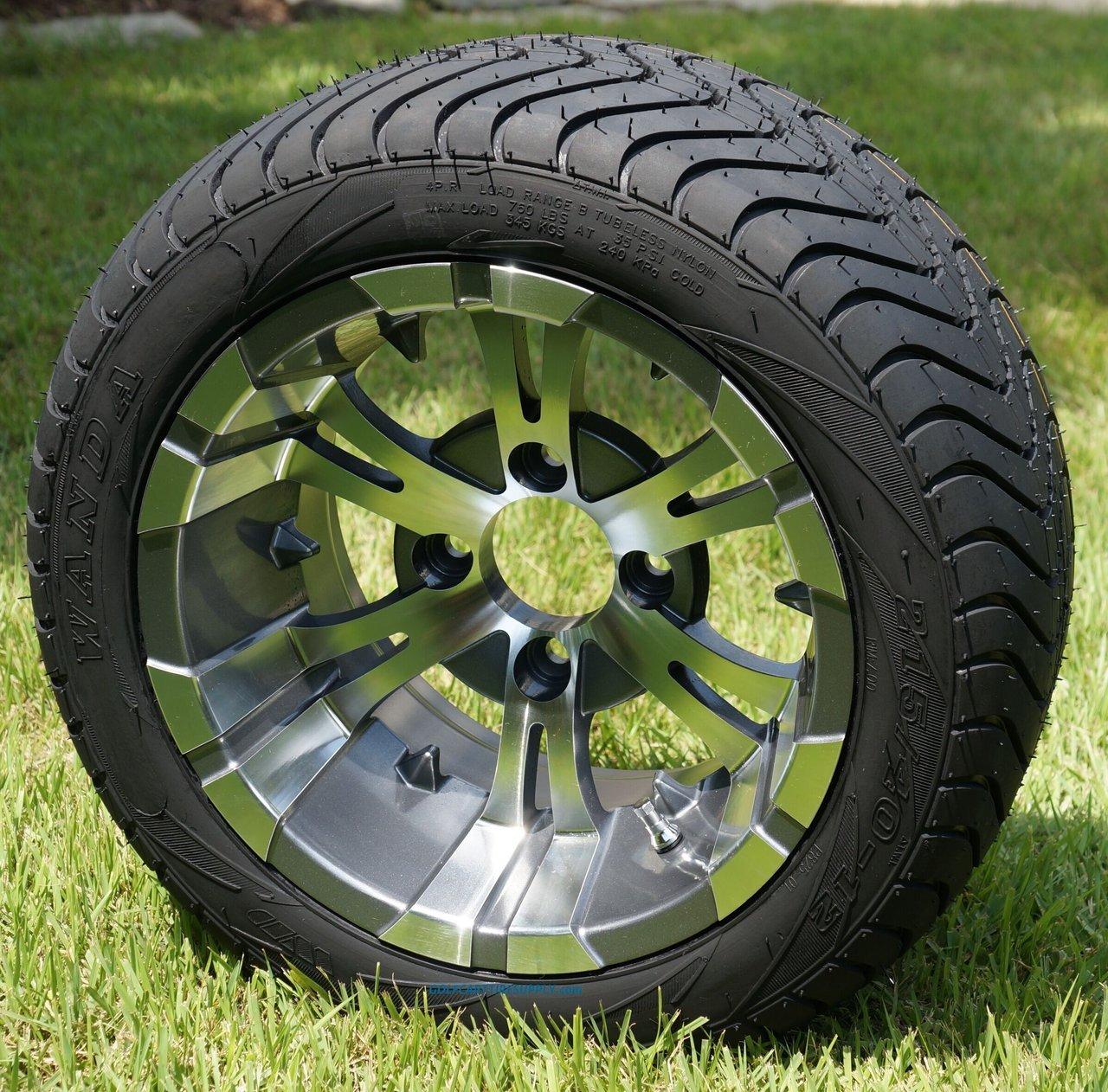12'' Vampire Gunmetal Aluminum Wheels and 215/40-12 Low Profile DOT Golf Cart Tires Combo - Set of 4