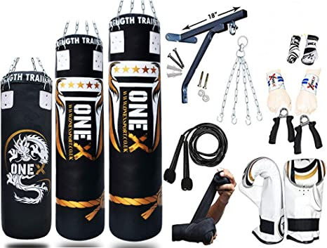 New 15 Piece Boxing Set 4ft Filled Heavy Punch Bag Gloves,Chains,Bracket,Kick