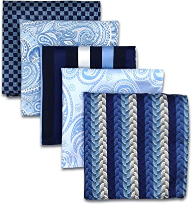 Shlax/&Wing 5 Pieces Assorted Mens Pocket Square Handkerchiefs Set
