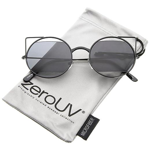 b7cd12f06282 Women s Cutout Metal Open Frame Lens Round Cat Eye Sunglasses 52mm  (Black Smoke)
