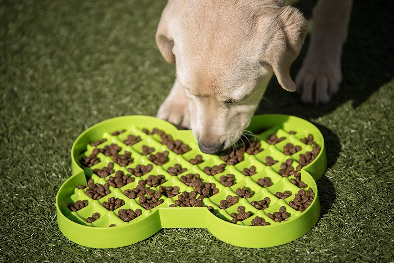 Hyper Pet Slow Feeder Dog Feeding Bowl, Green