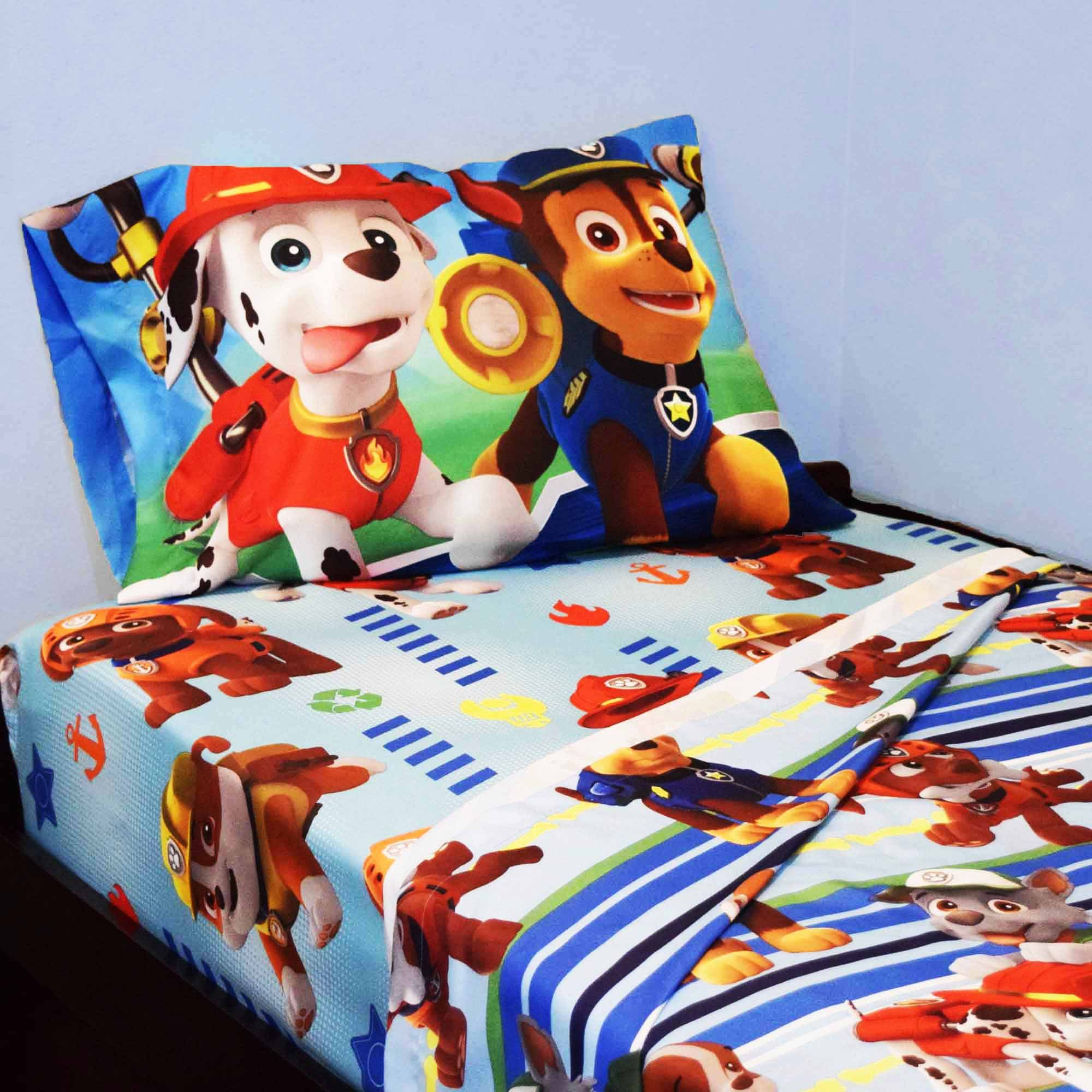 Kohl's Paw Patrol 3 Piece Twin Bed Sheets - Chase, Marshall, Rubble, Zuma - Kids Microfiber Bedding Set