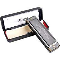 Harmonica, Mugig Harmonica, 10 Holes 20 Tones, C Key, 1.2mm Plate Structure, Suitable for Beginners, Stainless Steel Cover, with Harmonica Box, Black (Standard)