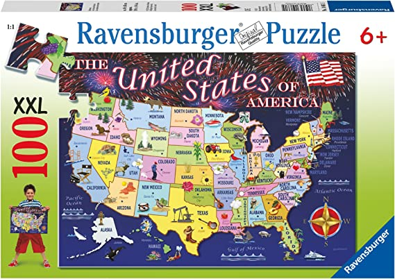 Amazon Com Ravensburger Statemap 100 Piece Jigsaw Puzzle For Kids Every Piece Is Unique Pieces Fit Together Perfectly Toys Games