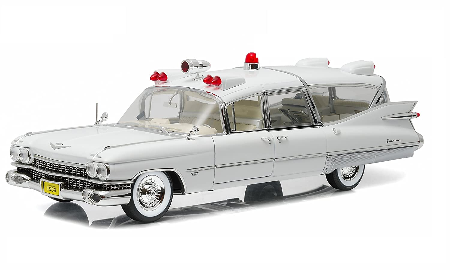 GreenLight Precision Collection 1959 Cadillac Ambulance Vehicle (1:18 Scale), White PC-18004