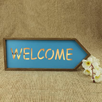 Buy Avmart Home Office Welcome Sign Wood Hanging Board With On Off