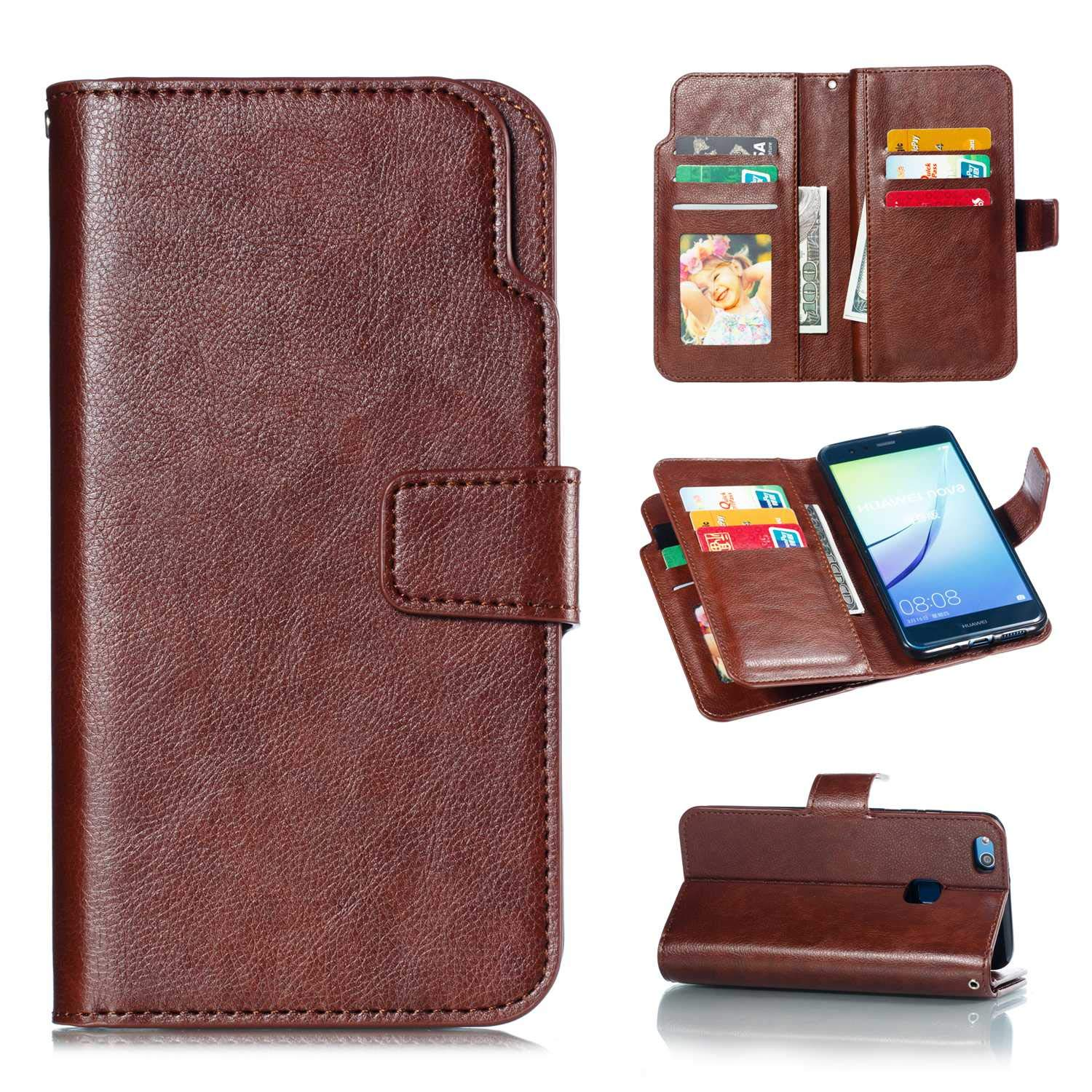 CUSKING Huawei P10 Lite Case, Leather Flip Bookstyle Case Magnetic Wallet Cover with Card Holder for Huawei P10 Lite - Brown