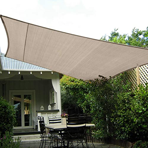 TANG Sun Shades Depot 13' x 20' Rectanlge Waterproof Knitted Shade Sail Curved Edge Beige 260 GSM UV Block Shade Fabric Pergola Carport Canopy Replacement Awning Customize Available