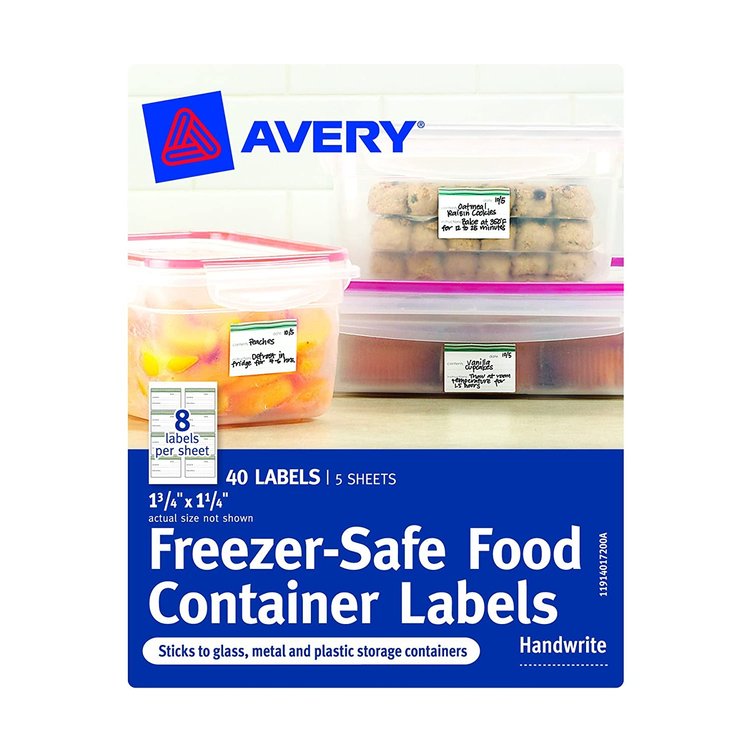 Avery Freezer-Safe Food Container Labels, 1.25 x 1.75-Inches, Pack of 40 (40172)