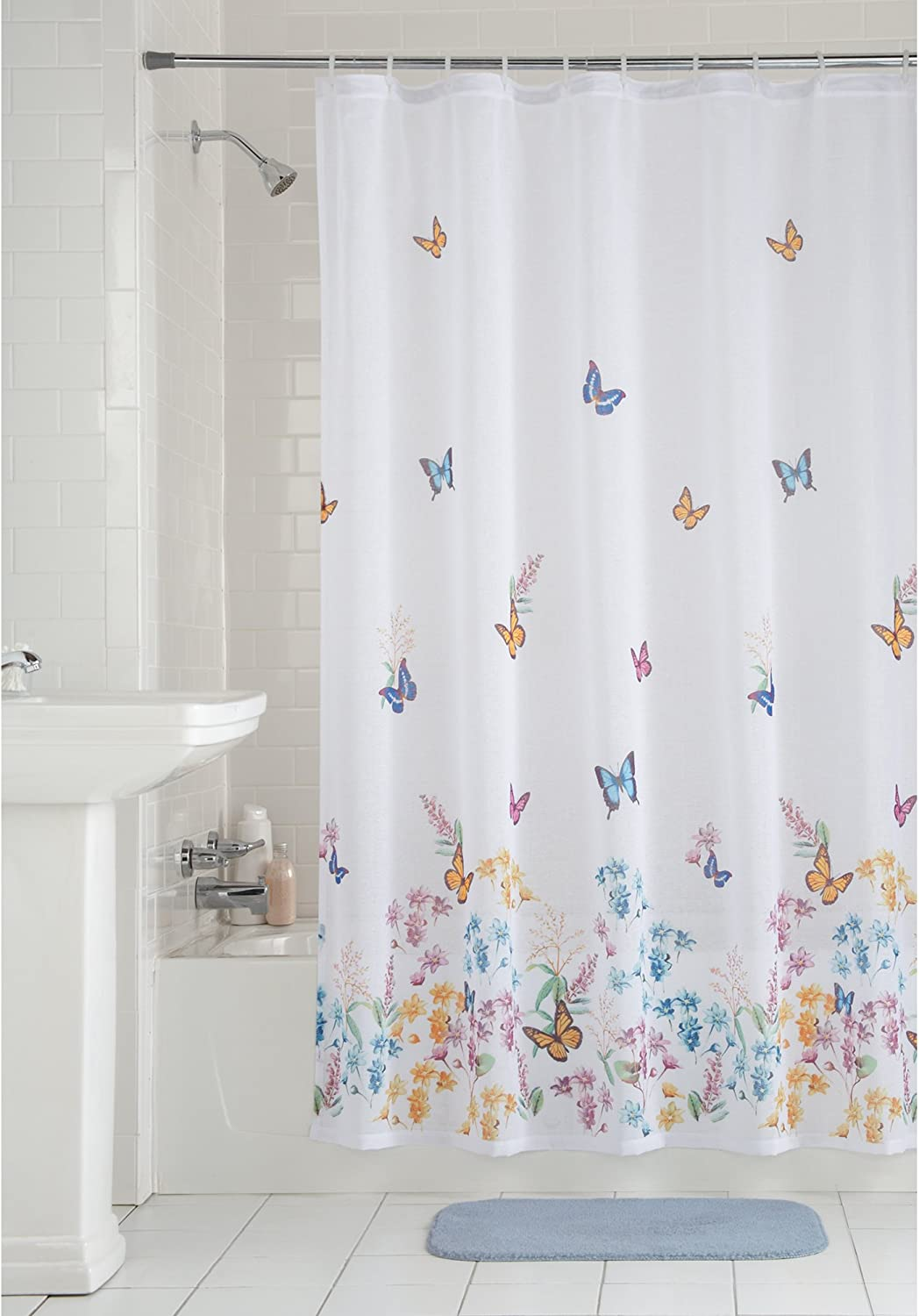 Mainstay Butterfly Fabric Shower Curtain