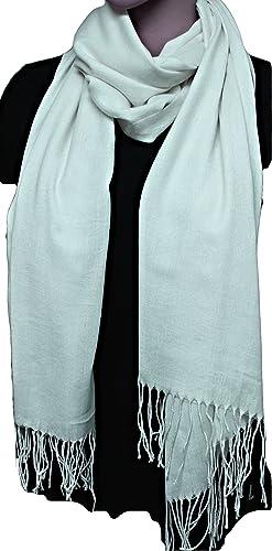 FIA MONETTI Bufanda de mujer Cashmere – blanco – 170 x 66 cm – en un diseño atemporal – ¡un accesorio ideal para cada atuendo!