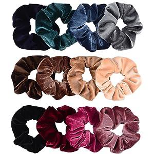 Whaline 12 Pieces Hair Scrunchies Velvet Elastics Scrunchy Bobbles Soft Hair  Bands Hair Ties (12 3d540198303