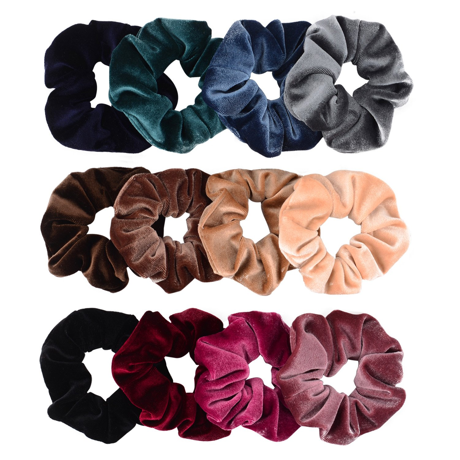 Whaline 12 Pack Hair Scrunchies Premium Velvet Scrunchy Elastic Hair Bands for Girls, Women Hair Accessories (12 Colors)