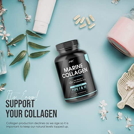 Wild-Caught Marine Collagen Capsules - Types I & III Collagen Peptides - Hydrolysed Deep Ocean Canadian Collagen, Made with Hyaluronic Acid, 120 Caps