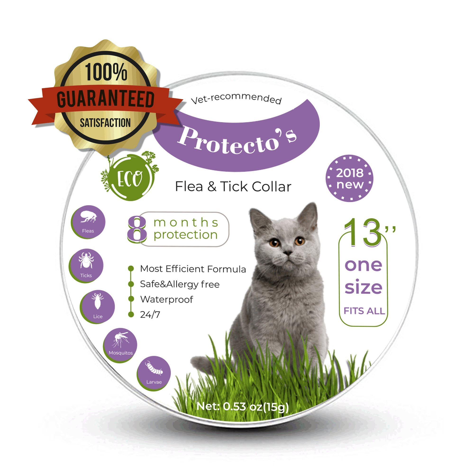 Protecto's cat flea collar tick collar for cats 100% safe hypoallergenic kills flea repels flea natural essential oils 8 months protection waterproof fits all the sizes premium quality pet flea collar