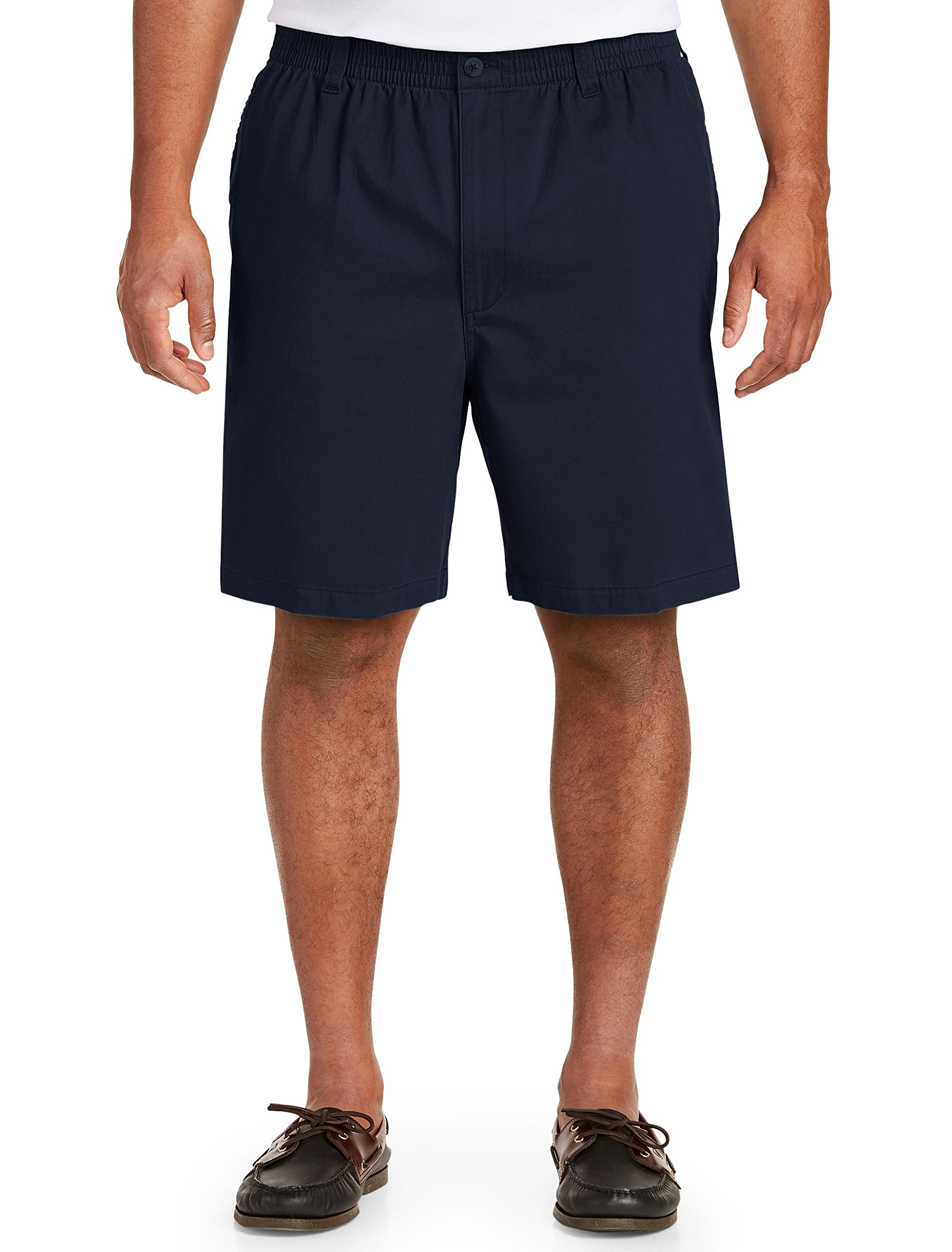 Harbor Bay by DXL Big and Tall Elastic-Waist Twill Shorts-Updated Fit
