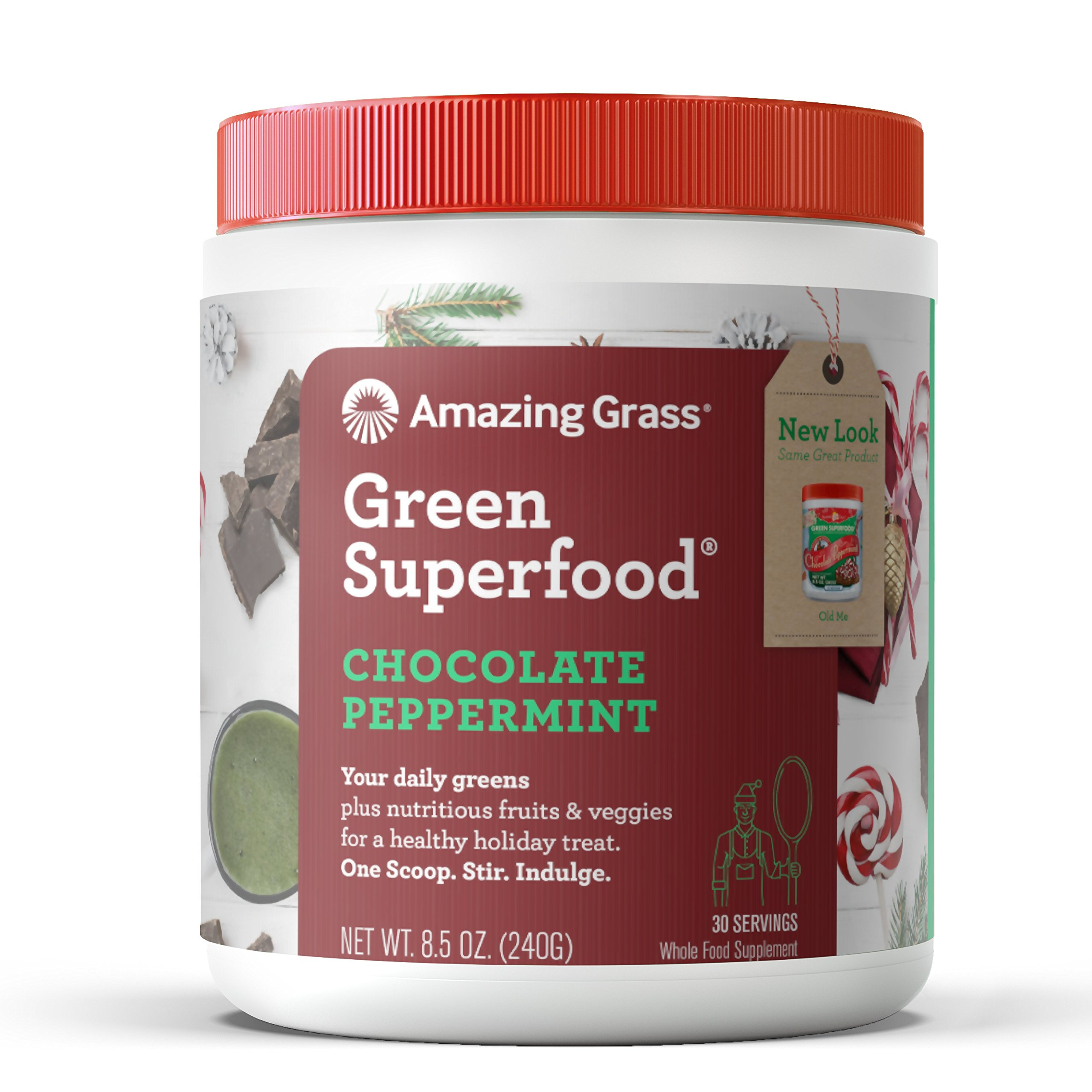 Amazing Grass Green Superfood Organic Powder with Wheat Grass and Greens, Flavor: Chocolate Peppermint, 30 Servings