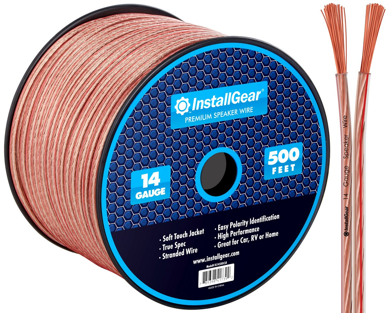 InstallGear 14 Gauge AWG 500ft Speaker Wire Cable - Clear by InstallGear
