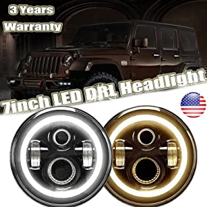 DOT 7 Inch Round LED Headlights With Turn Signal Halo For Jeep Wrangler JK YJ TJ CJ, High Beam/Low Beam/DRL in White/Turning Signal in Yellow H6017 H6024 Conversion Kit