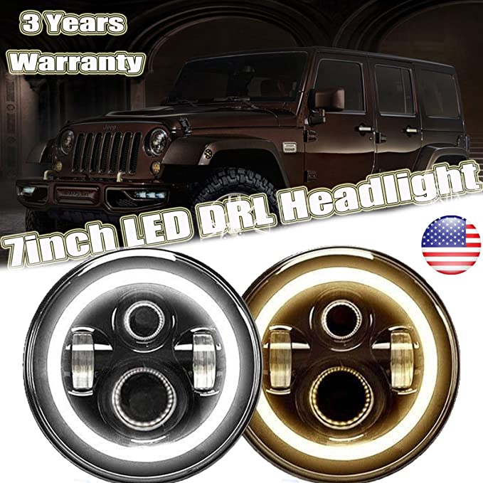 Pair SUPAREE 7 Inch LED Triple Halo Headlights with Amber Sequential Turn Signal for H6024 2007-2017 Wrangler JK JKU TJ LJ CJ Hummber H1 H2