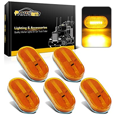 Partsam 5x Amber Clearance/Marker Side Light w/Removable Lens RV Trailer Truck Camper Waterproof 12V 2x4 Reflectorized Trailer Led Clearance and side marker Lights with Reflex Lens Surface Mount: Automotive