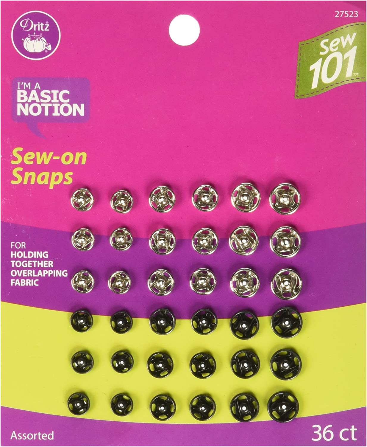 Nickel and Black Dritz Sew 101 S101 Assorted Sew 36 Sets snaps