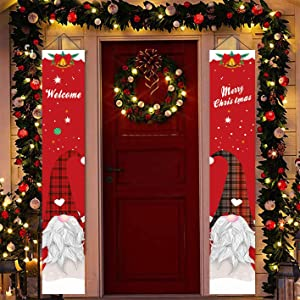 Christmas Porch Signs, Welcome & Merry Christmas Banner Hanging Signs Decorations, Outdoor Xmas Décor, Gnome Banners for Front Door Yard Home Garden Office Garage Apartment Holiday Party Supplies