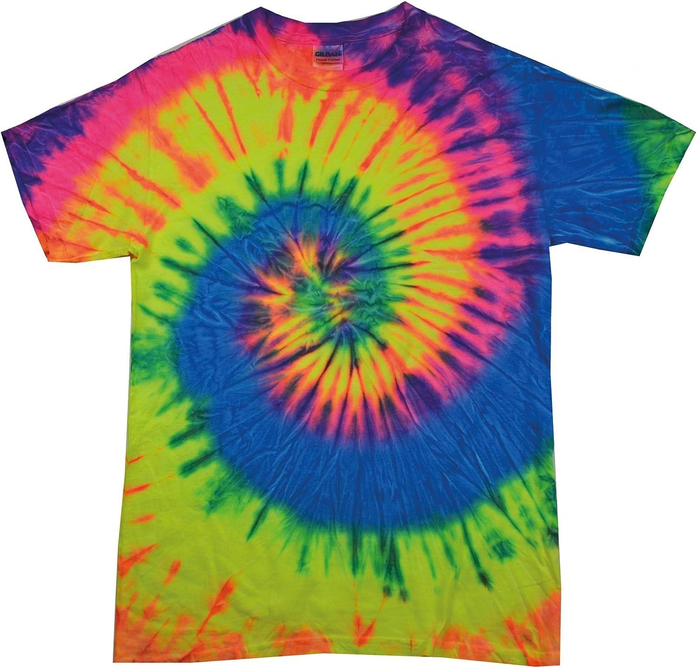Colortone Womens//Ladies Rainbow Tie-Dye Short Sleeve Heavyweight T-Shirt