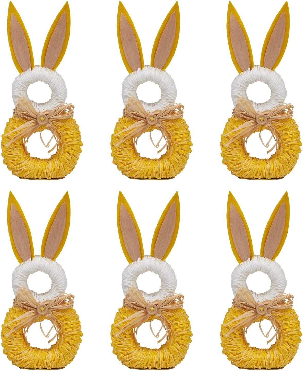 Themed Parties Baby Shower or Everyday Use-White Bunny Ears Set of 6 DII Napkin Rings for Easter Spring