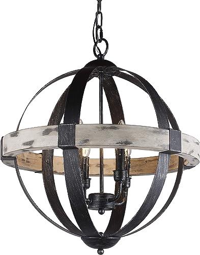 Castello Black Aspen Wrought Iron Globe Wood 4 Light Dia 20''' Chandelier