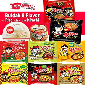 2021 NEW [10pack] 8 Flavor Samyang Buldak Chicken Stir Fried Korean Ramen (Original Spicy, 2x Spicy, Kimchi, Corn, Jjajang, Curry, Cheese, Spicy Stew) with Instant White Rice & Stir-fried KIMCHI. Perfect for Spicy Food Enthusiasts.