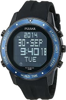 amazon com pulsar men s pq2011 stainless steel digital watch with rh amazon com Pulsar Women's Watches Pulsar Digital Watch